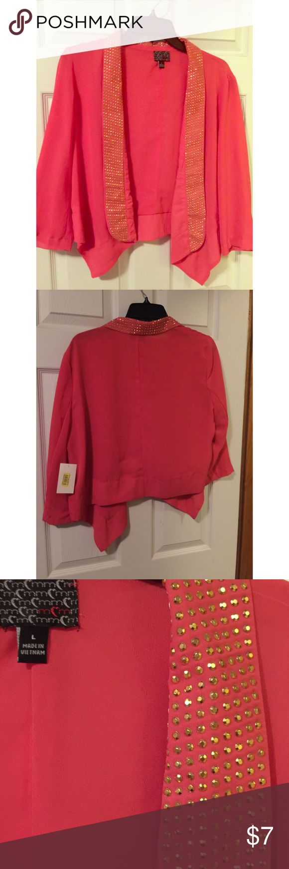 Dark coral cropped blazer with gold beaded detail Never worn! I think this is MCM brand but not 100% sure. MCM Jackets & Coats Blazers