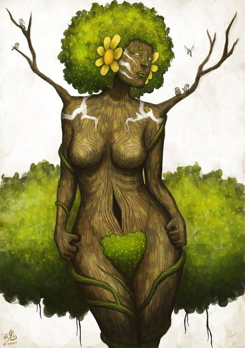 Aja – West African Goddess of Forests. Aja is worshipped throughout Nigeria and in the New World Yoruban tradition as wise woman and healer.  She rules over forests, woodlands, and the medicinal herbs found within them.  She teaches herblore to her followers, ensuring the physical and spiritual health of the tribe.  (text from Brandi Auset, The Goddess Guide)