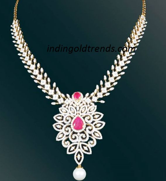 Latest Indian Gold and Diamond Jewellery Designs: Diamond necklace