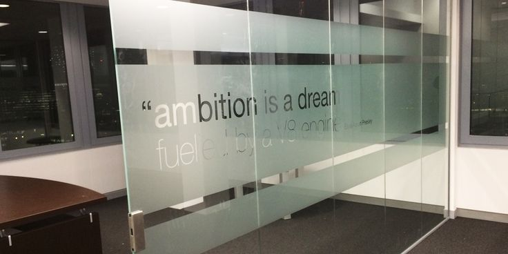 Glass frosting with cut out quotation/lettering - we create inspirational office spaces, specialists in glass manifestation. Check out our work at www.space3.co.uk