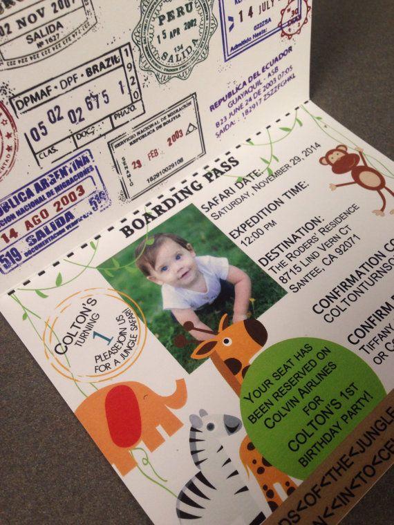 Passport Birthday Invitation Jungle Safari by PeacockParties