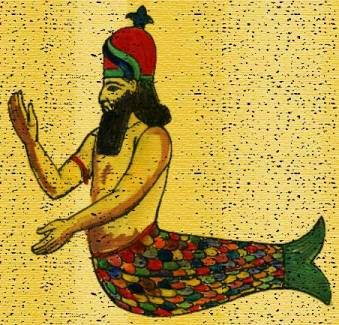 Oannes.  Emerging from the sea as half-man, half-fish, he gave humanity, reason, language, and purpose. Babylonian.