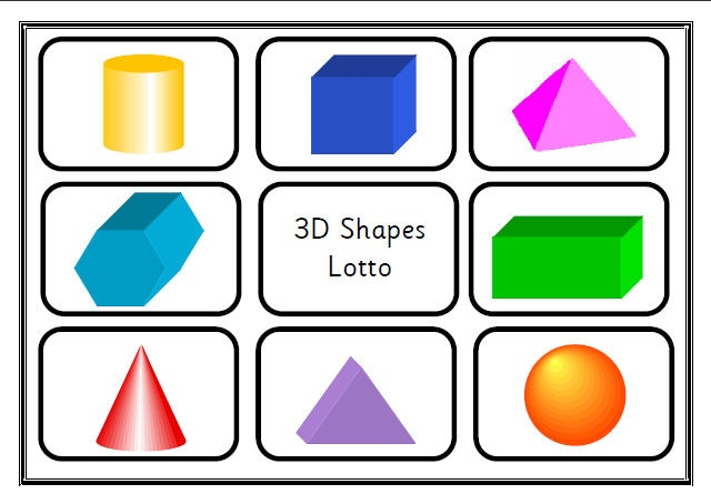 Printable pdf game for 4 players with 4 ability levels: shape-shape, shape-object, shape-name, shape- description. Blank word template listed for those who would like to write their own descriptions. Sassoon Infant font throughout