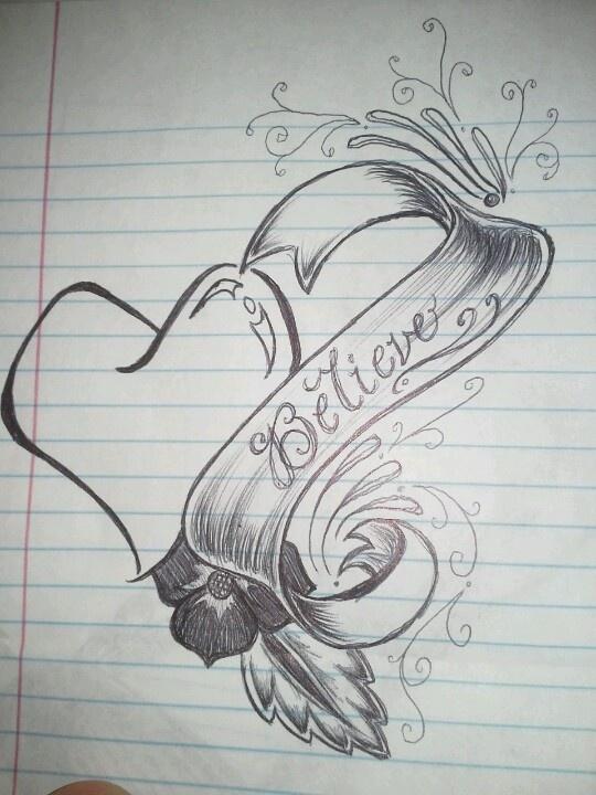 Heart ribbon sketch | ...