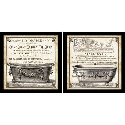 "Star Creations ""Old English Tub"" by Tre Sorelle Studios 2 Piece Framed Graphic Art Set"