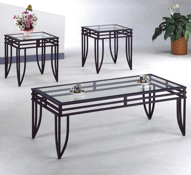 Coffee Table U0026 2 End Glass Themed Metal Set Cocktail Living Room Home  Furniture