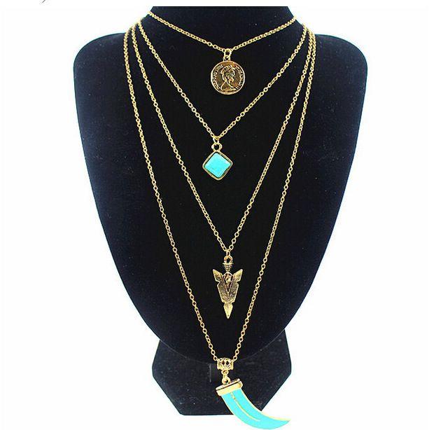Camada de cadeia turquesa Coin encantos colares de elefantes de pico pingente de colar de jóias mulheres