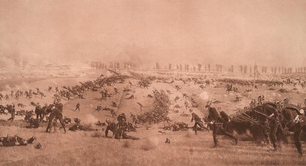 Deutsch-französischer Krieg 1870/71. Sturm des 1. Garderegiments zu Fuß auf St. Privat am Abend des 18. August 1870.