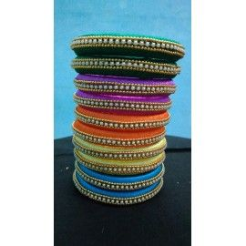 Bangle pair made of silk thread available in different colours-02