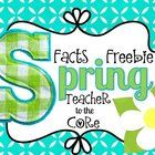 Facts, Facts, Facts!  This cute little freebie helps your students practice their  ~ math facts to 10  ~ math facts to 20  ~ spring informational writing