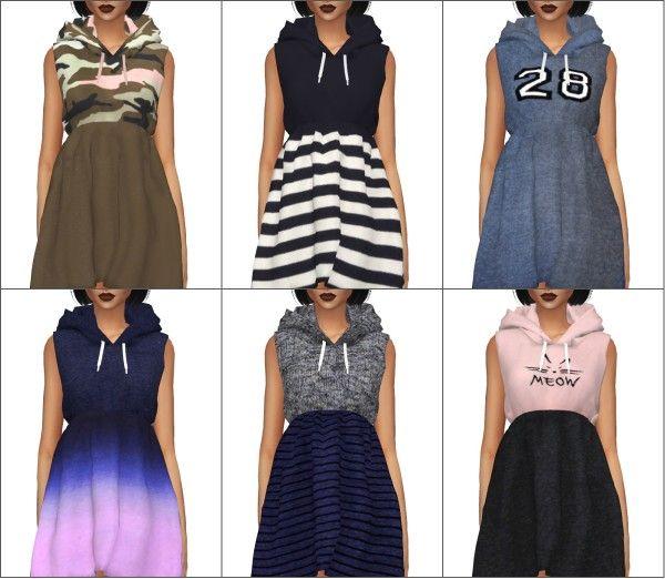 Kenzar Sims: Hoodie dress • Sims 4 Downloads