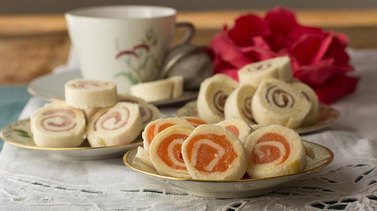 Opgerolde broodhapjes met zalm, ham en gandaham | VTM Koken