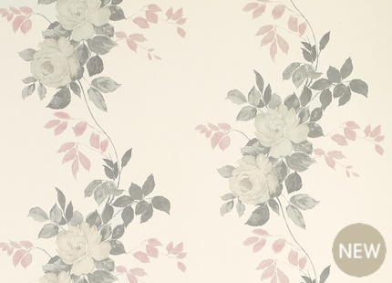 DRESSING ROOM | new laura ashley wallpaper and fabric in a vintage rose print
