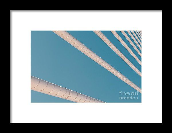 Steel Bridge Cables On Blue Sky Framed Print