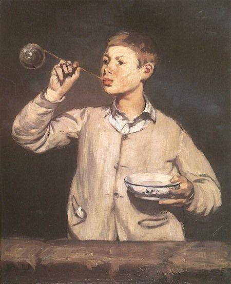 Manet ritrae questo ragazzo che soffia bolle di sapone, opera conservata a Lisbona al Museu Calouste-Gulbenkian