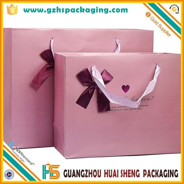 """Customized logo silver hot-stamping logo luxury paper gift bags wholesale,paper bag printing with silk handle and bowknot"""