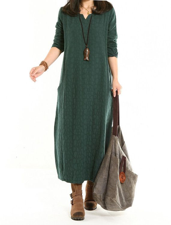 Women Cotton Linen Dress Loose Autumn Dress - Buykud -