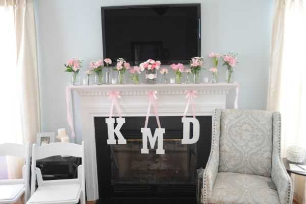 Wooden letters on ribbon to make monogram
