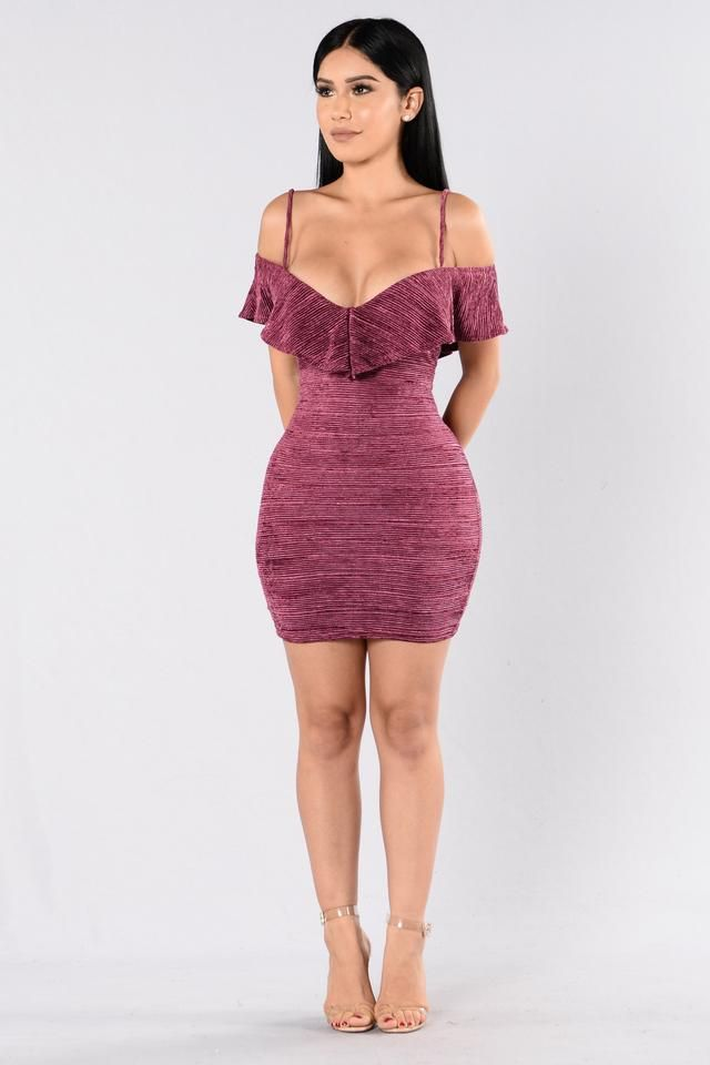 - Available in Navy and Magenta - Velvet Ribbed Dress - Off Shoulder - Ruffle Top - Knee Length - Spaghetti Straps - Made in USA - 100% Polyester