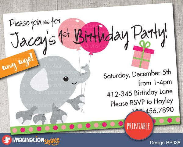 Personalized Pink Elephant Birthday Party Invitation PRINTABLE DIY / Baby Elephants Birthday / Printable Invite / Custom Invitation / Girl's - pinned by pin4etsy.com