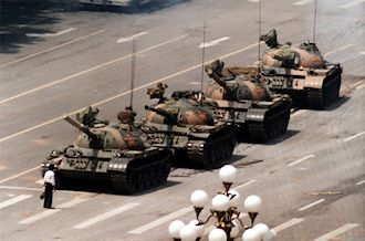 """As the tank attempted to go around, the ""Tank Man"" moved into it's path. He stood defiantly in front of the tanks for some time, then climbed onto the turret of the lead tank to speak to the soldiers inside. After returning to his position in front of the tanks, the man was pulled aside by a group of people.  What happened to ""Tank Man"" after the protest is unknown. Time Magazine later named him one of 'the 100 most influential people of the 20th century' "" wikipedia.org paraphrased"