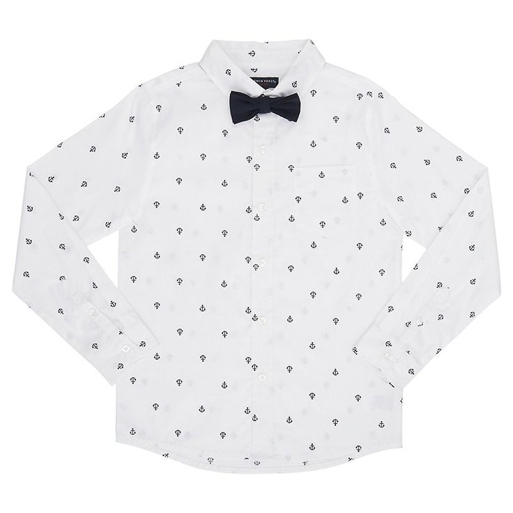Amazon.com: French Toast Boys' Long Sleeve Woven Poplin Roll up Shirt with Bow Tie: Clothing