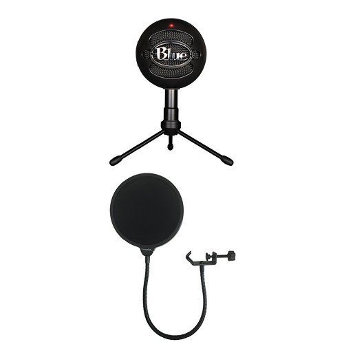 Blue Snowball iCE Condenser Microphone, Cardioid - Black with Dragonpad USA Pop filter Studio Microphone Mic Wind Screen Pop Filter