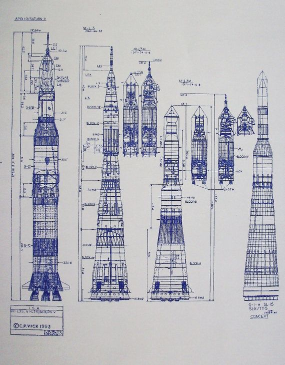 Apollo Saturn V and Soviet N1 Moon Rockets by BlueprintPlace, $14.99