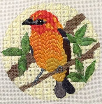 np-animals from Knit One Needlepoint Too, Melissa Prince bird with Bargello Needlepoint feathers