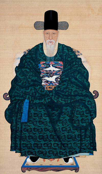 Yi Myeong-Gi | (Mid 18th - Early 19th Century) Portrait of O Jae-Sun | Joseon Dynasty, Late 18th - Early 19th Century | Colors on Silk