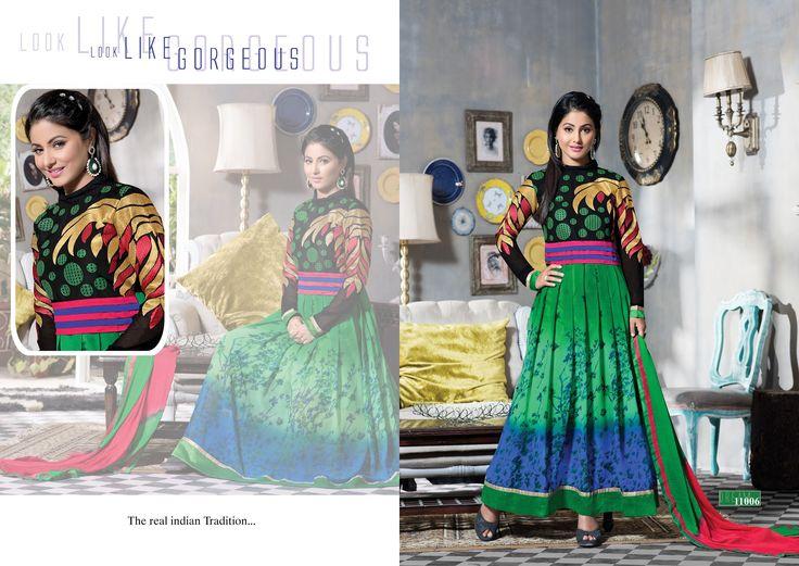 Heena khan Georgette Print with Embroidery Suit (Catalog - HEENAKHAN)