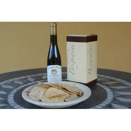 Composizione:# Brigidini: tipici biscotti toscani in confezione da 200 gr.# Moscadello di Montalcino DOC 2010 (lt. 0,375) Vendemmia Tardiva - Azienda Agricola CAPANNA