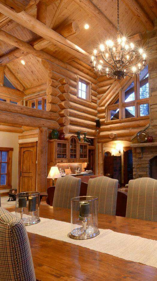 Pin by nicola jackson on home sweet home pinterest for Modern log home interiors