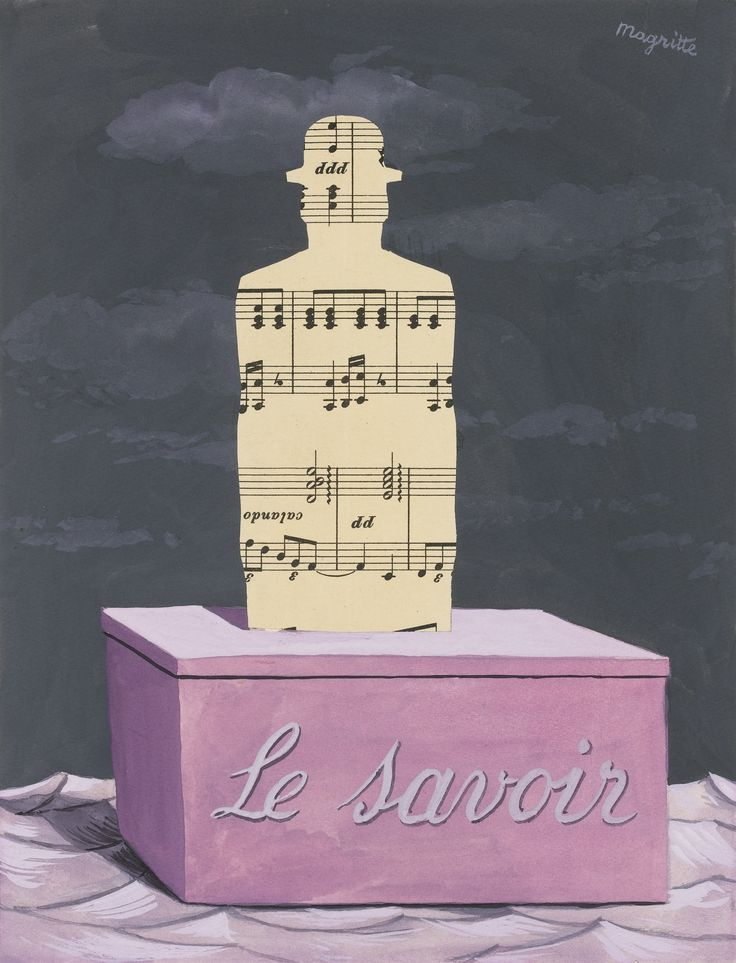 René Magritte L'USAGE DE LA PAROLE signed Magritte (upper right); titled on the reverse gouache and collage on paper 25 by 18.8cm. 9 7/8 by 7 3/8 in. Executed in 1961.