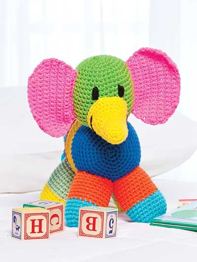 Patchwork Elephant Crochet Pattern Download from e-PatternsCentral.com -- This colorful elephant will delight a little boy or girl and quickly become a favorite toy.