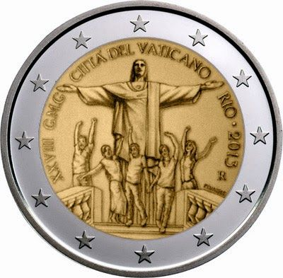 €2 commemorative coins - Vatican City 2013, The 28th World Youth Day to be celebrated in Rio de Janeiro in July 2013.   Commemorative 2 euro coins from Vatican City