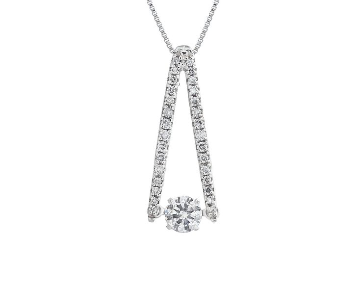 A Modern 18ct White Gold and Dancing Diamond Pendant