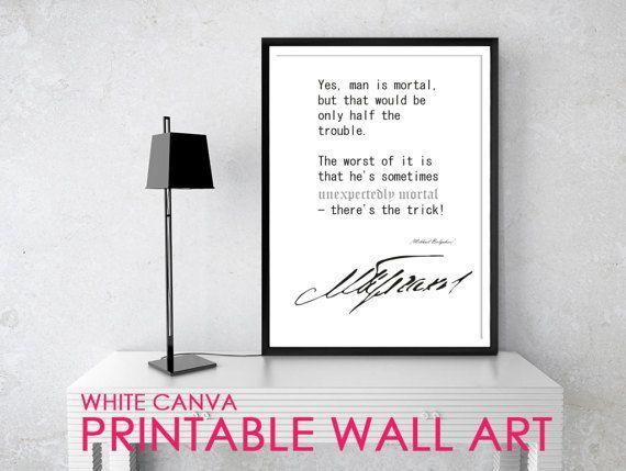 MAN IS MORTAL Bulgakov Quote Posters Printable by WhiteCanva