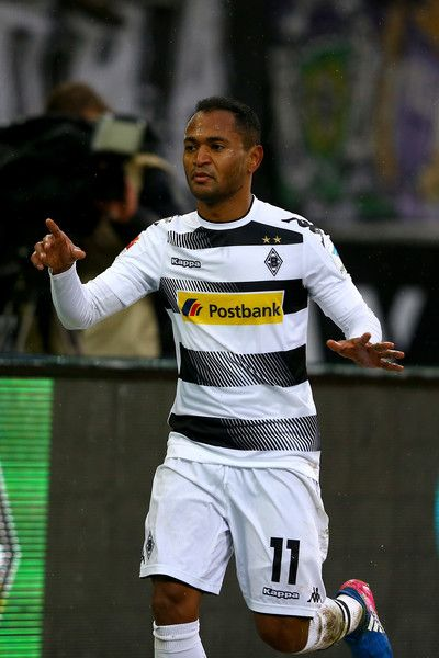 Raffael of Moenchengladbach celebrates the second goal during the Bundesliga match between Borussia Moenchengladbach and SC Freiburg at Borussia-Park on February 4, 2017 in Moenchengladbach, Germany.