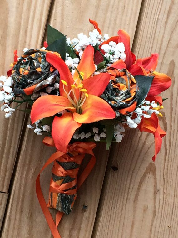 Camo Wedding Bouqet Orange Camo Orange Silk by TheVineDesigns