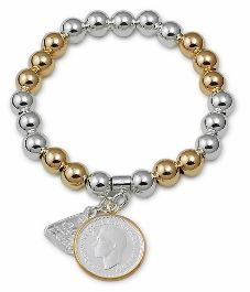 Von Treskow Sterling Silver/Yellow Gold Plated 8Mm Ball Stretchy Bracelet With Sixpence Coin Dangle, Yellow Gold Plated Rim