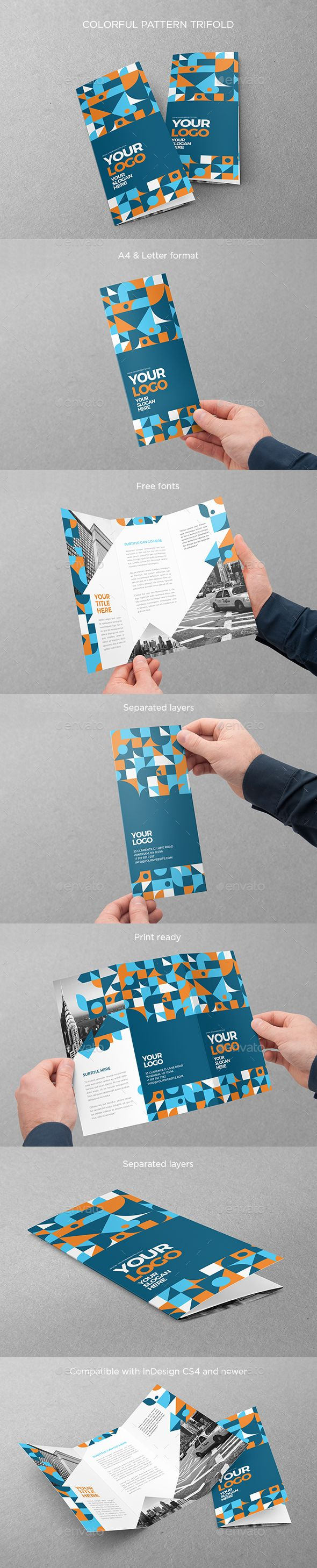 Colorful Pattern Brochure Trifold Design Template - Brochures Print Template InDesign INDD. Download here: https://graphicriver.net/item/colorful-pattern-trifold/19307526?ref=yinkira
