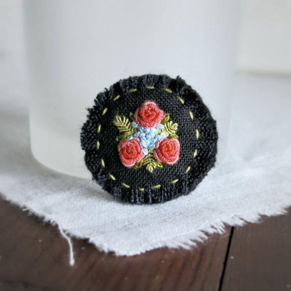 Dusty Orange Textile Art Brooch - Dusty Orange Roses on Black Linen Textile Art…