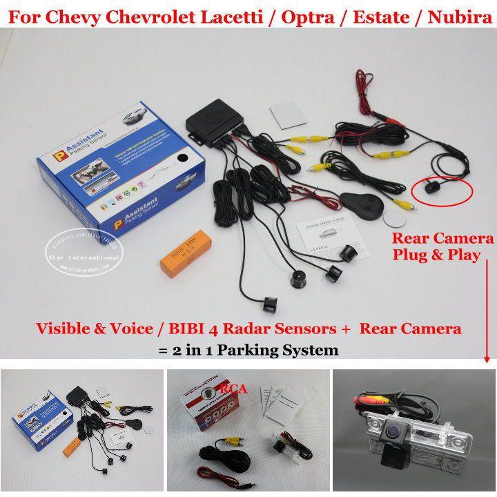 Car Parking Sensors + Rear View Back Up Camera = 2 in 1 Visual / BIBI Alarm Parking System For Chevy Chevrolet Estate Nubira #Affiliate