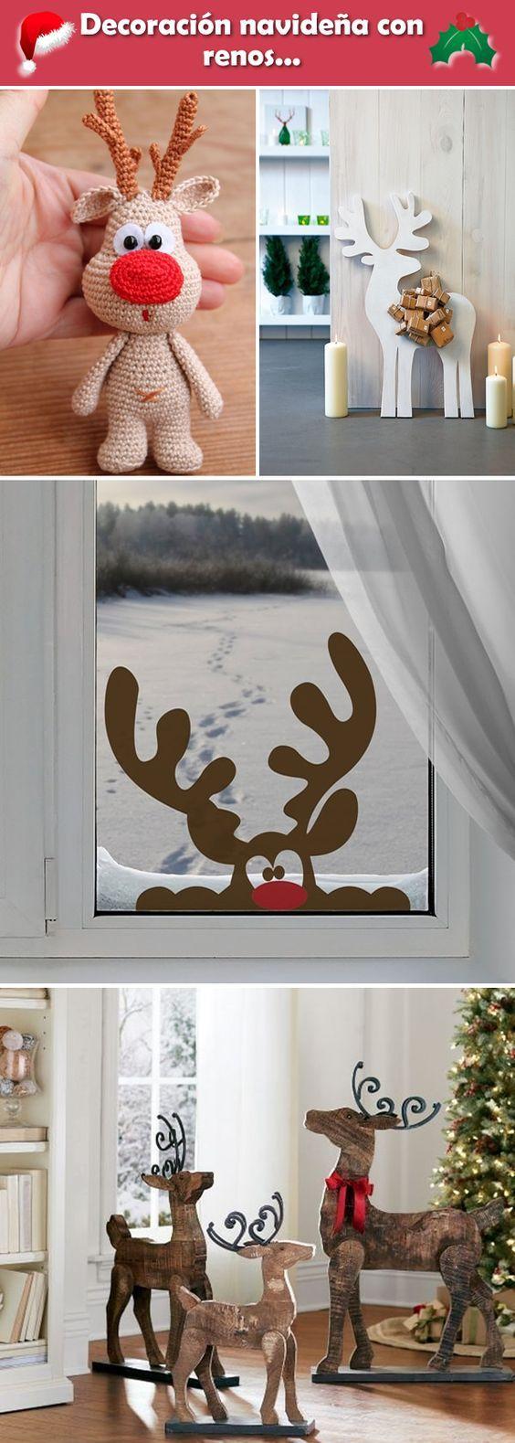 Decoración navideña con renos. Renos para decorar la Navidad. Ideas para decorar la Navidad con renos.