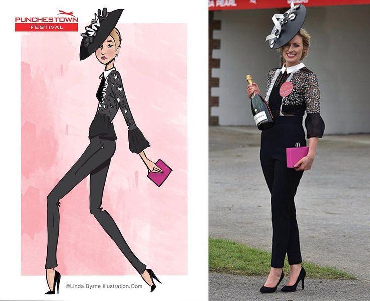 Linda Byrne Illustration. Fashion illustration. Fashion drawing. Fashion sketching. Ladies day fashion illustration. At the races in Ireland. Ladies day Punchestown. www.lindabyrneillustration.com