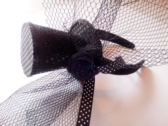 Mini top black hat hairband small sequins black by mademeathens