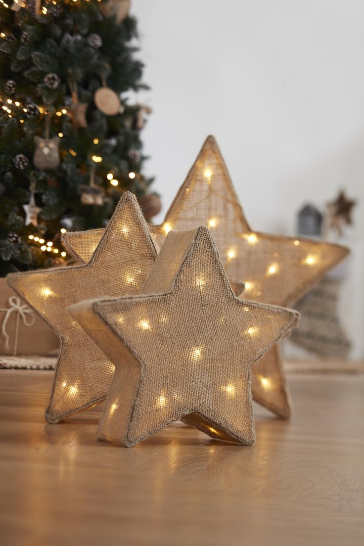 Hessian lit stars will bring that Christmas spirit, they also make for great accessories all year round too