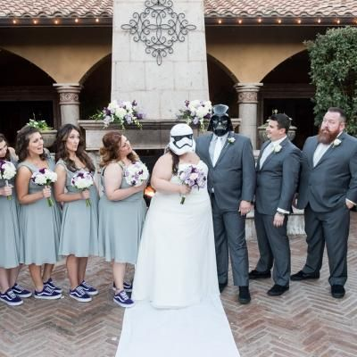 Fun Bridal Party Photo With Bride Groom Wearing Darth Vader Stormtrooper Masks Pixel