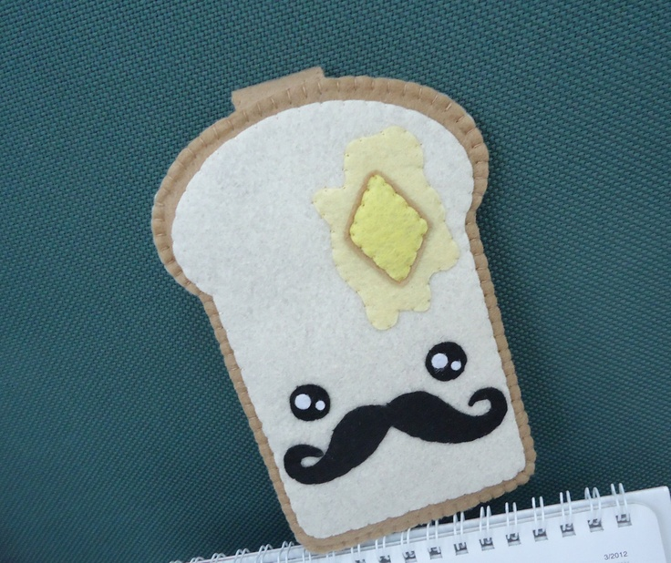 "iPhone Case - Cell Phone Case - iPhone 4 Case - iPod Case - iPod Touch Case - Handmade Felt Case - "" Cute Mr Toast with moustache"" Design. $10,50, via Etsy."